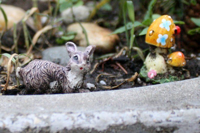 Fairy Garden Rabbit and Toadstool