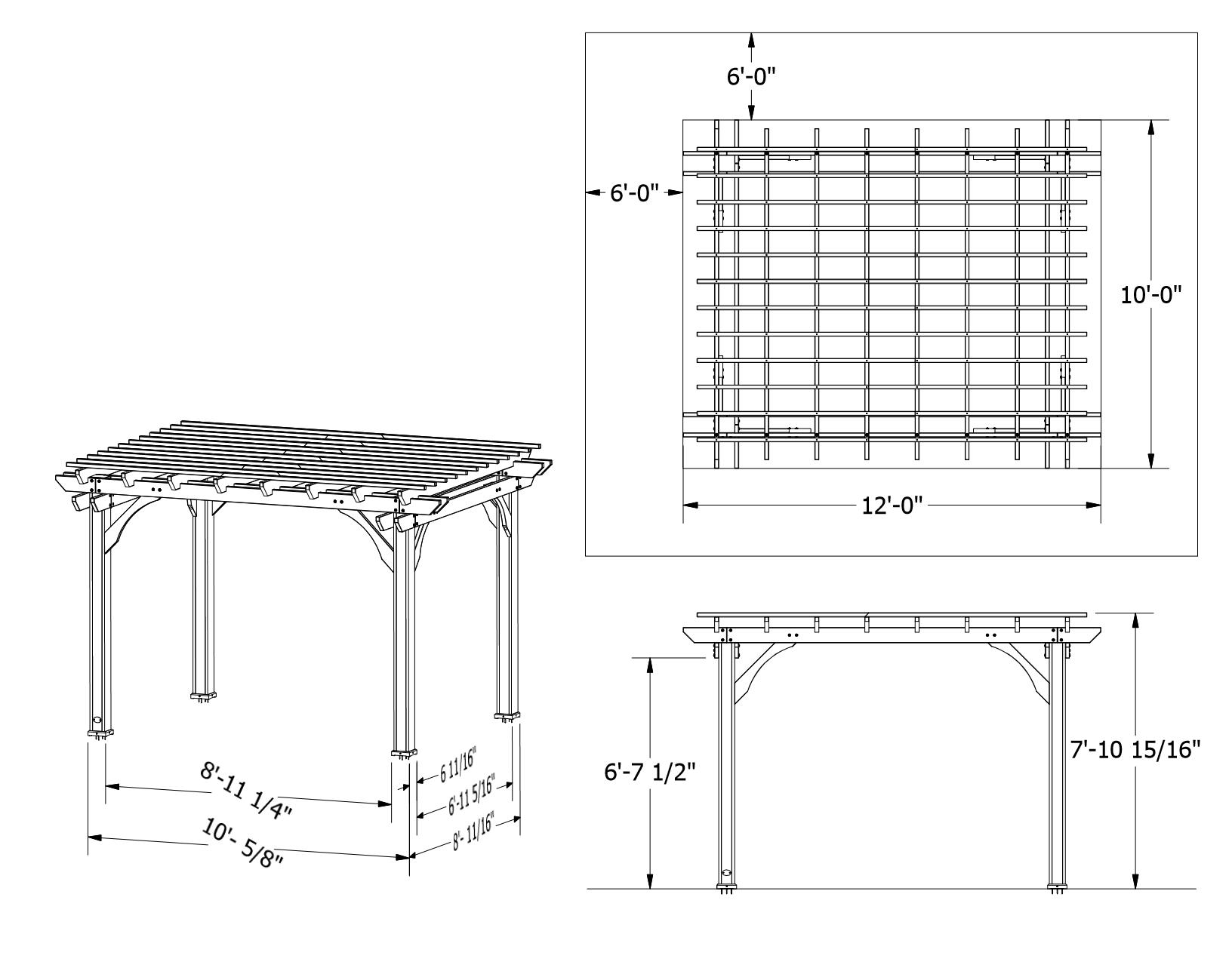 Cedar Pergola 10 By 12 Dimensions