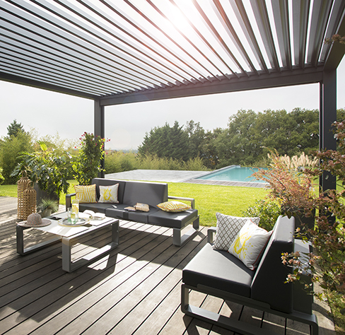 Opened Louvered Roof for the Sun